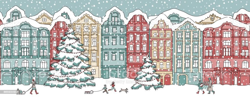 Seamless banner with snow covered houses vector art illustration