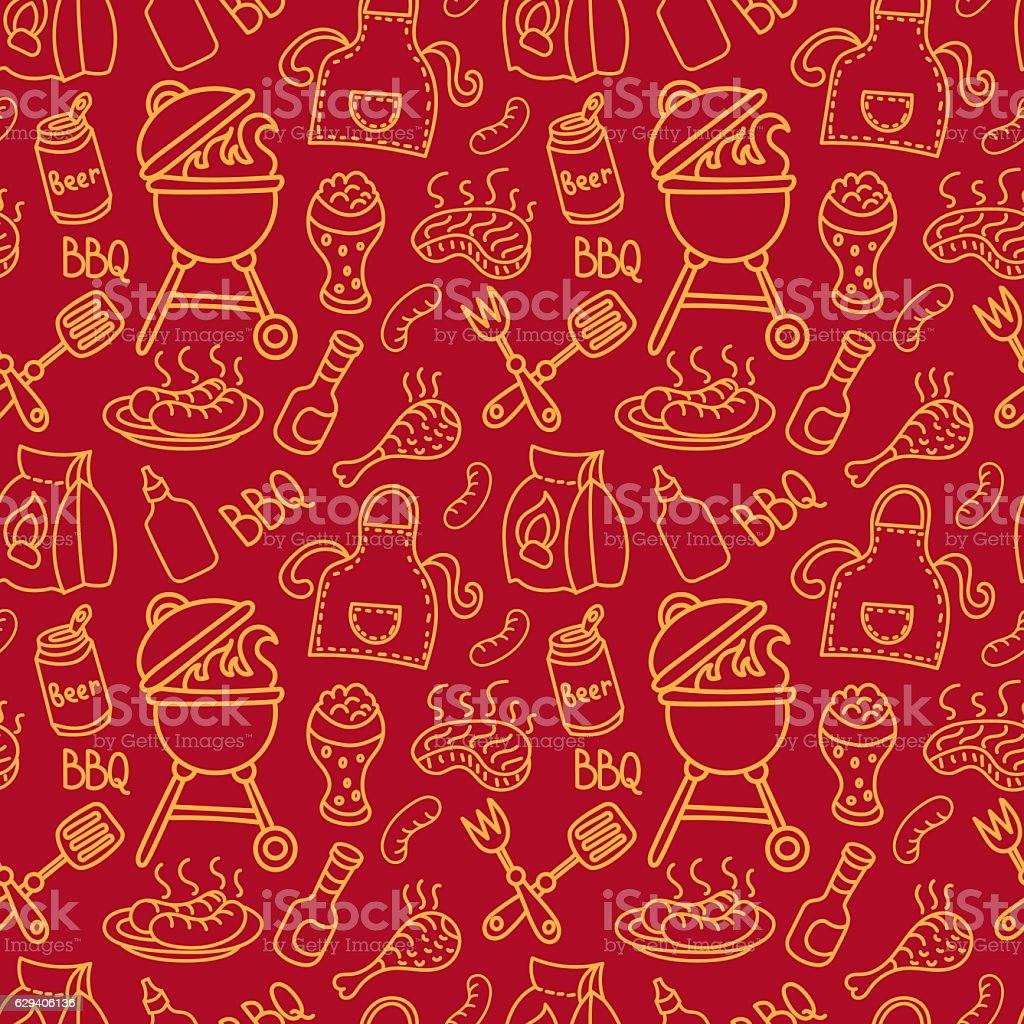 seamless barbecue pattern vector art illustration