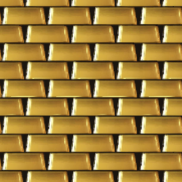 Seamless bars background. Wall of many gold bars background. Seamless vector ingot stock illustrations