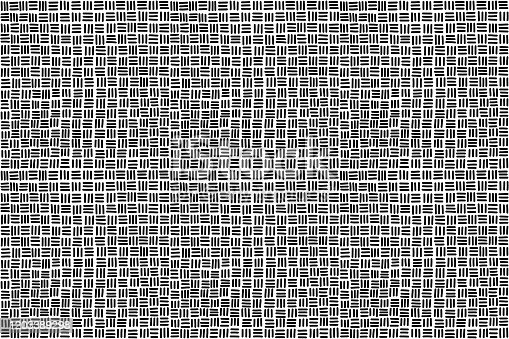 Seamless basketweave pattern background in black and white. Hand-drawn horizontal and vertical strands, resulting in square pattern, associated with woven baskets. Illustration over white. Vector.