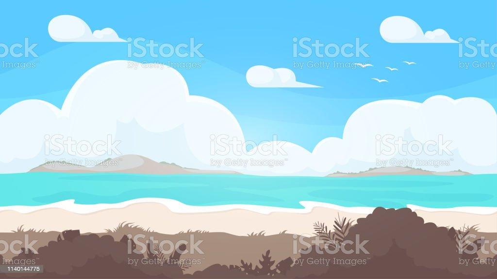 Seamless beach landscape. Beautiful high quality unending background....