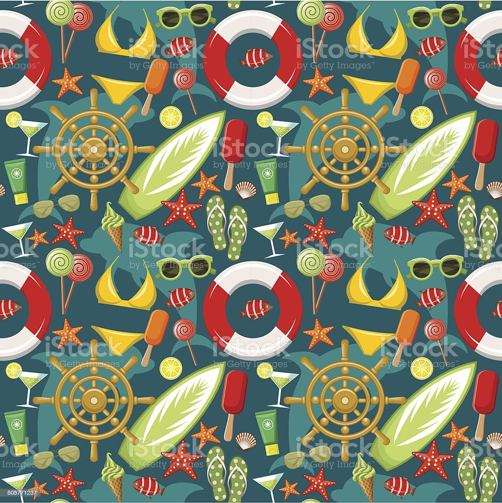 Seamless beach pattern royalty-free seamless beach pattern stock vector art & more images of beach