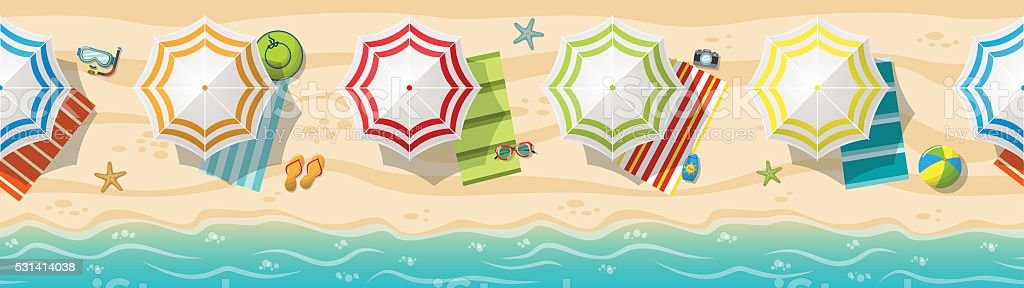 Seamless beach resort panorama with colorful beach umbrellas vector art illustration