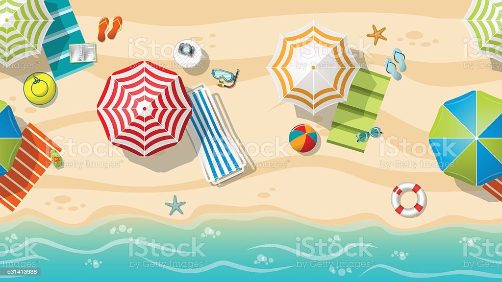 Seamless beach resort with colorful beach umbrellas vector art illustration