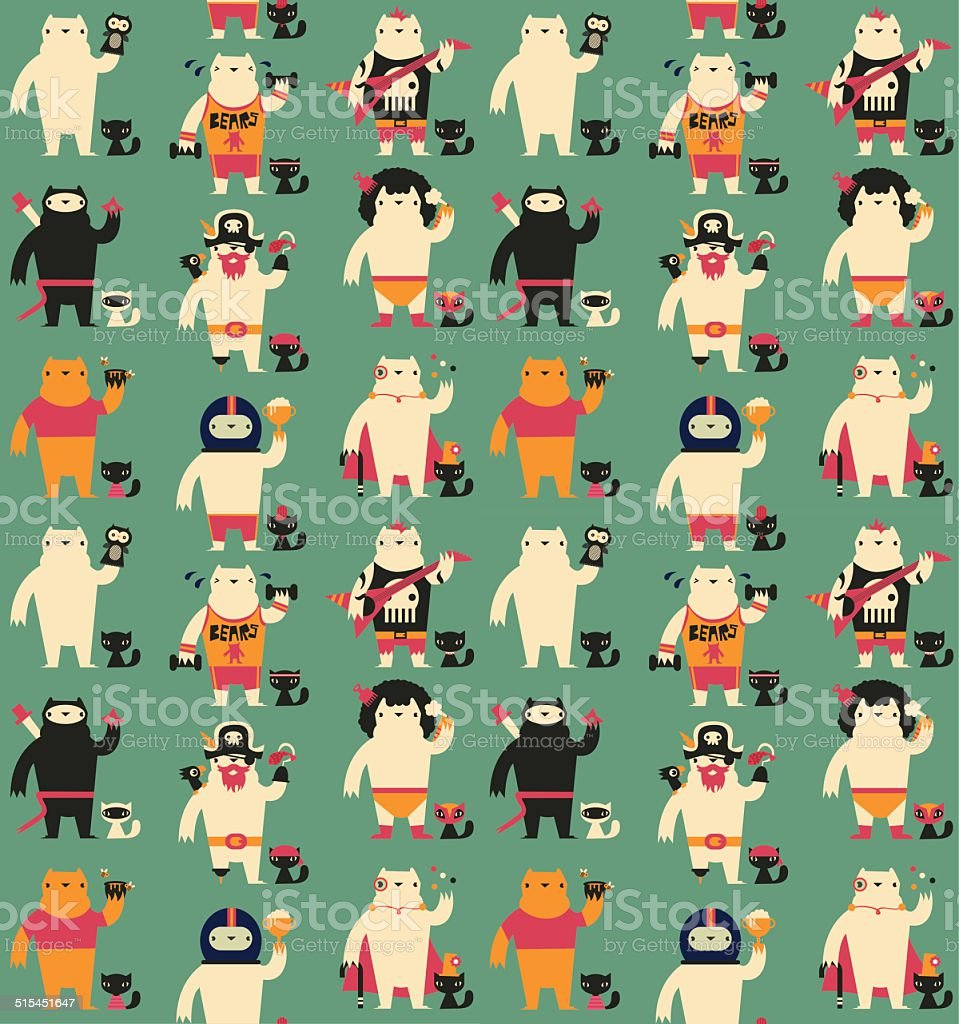 Seamless Bear and Cat Pattern vector art illustration