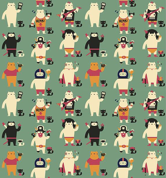 nahtlose bär und katze muster - kinderstiefel stock-grafiken, -clipart, -cartoons und -symbole