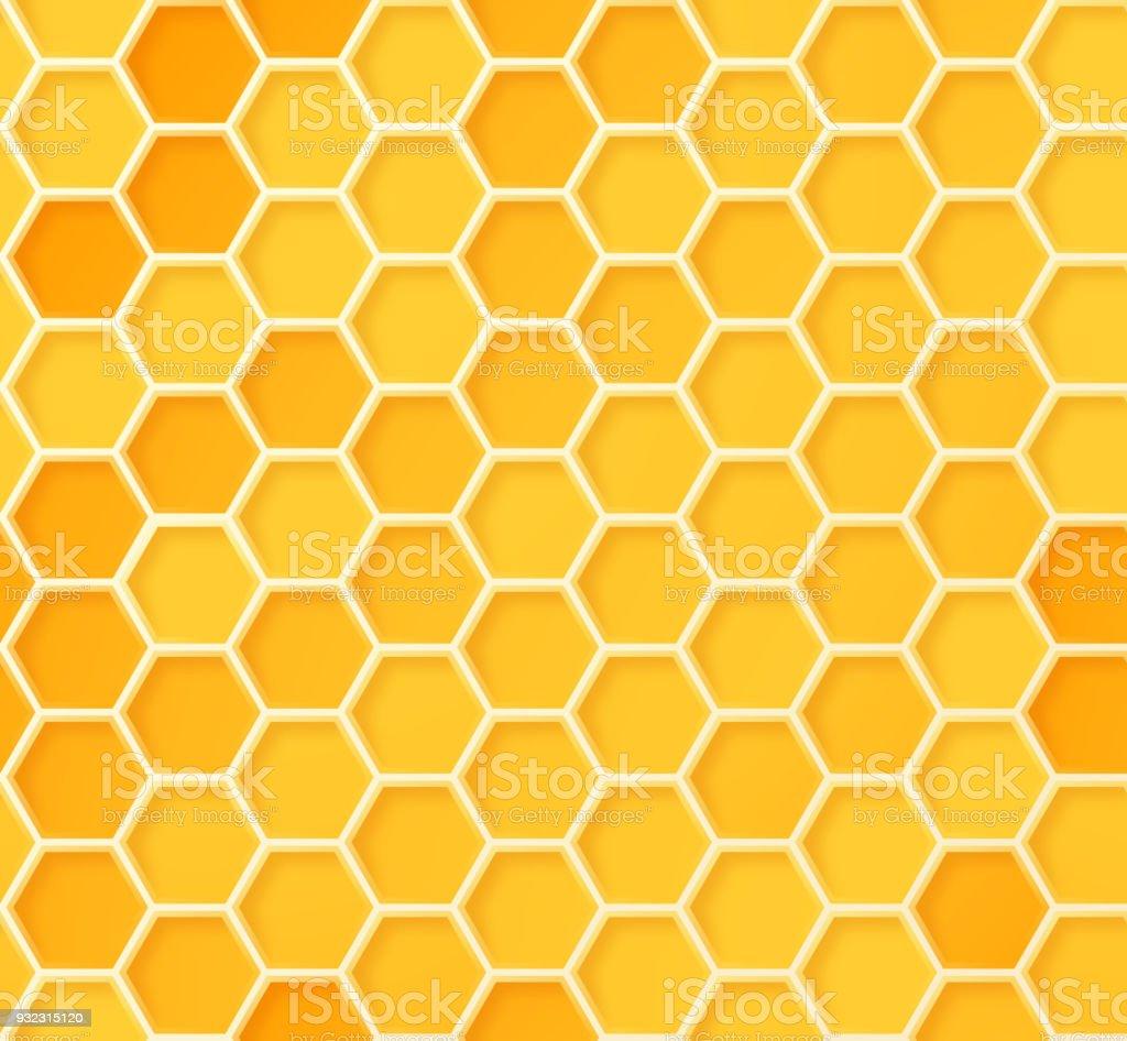 Seamless Beehive Honeycomb Pattern vector art illustration