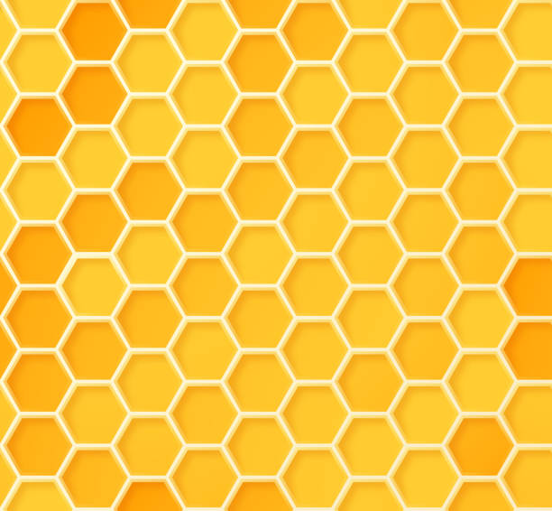 illustrazioni stock, clip art, cartoni animati e icone di tendenza di seamless beehive honeycomb pattern - miele dolci