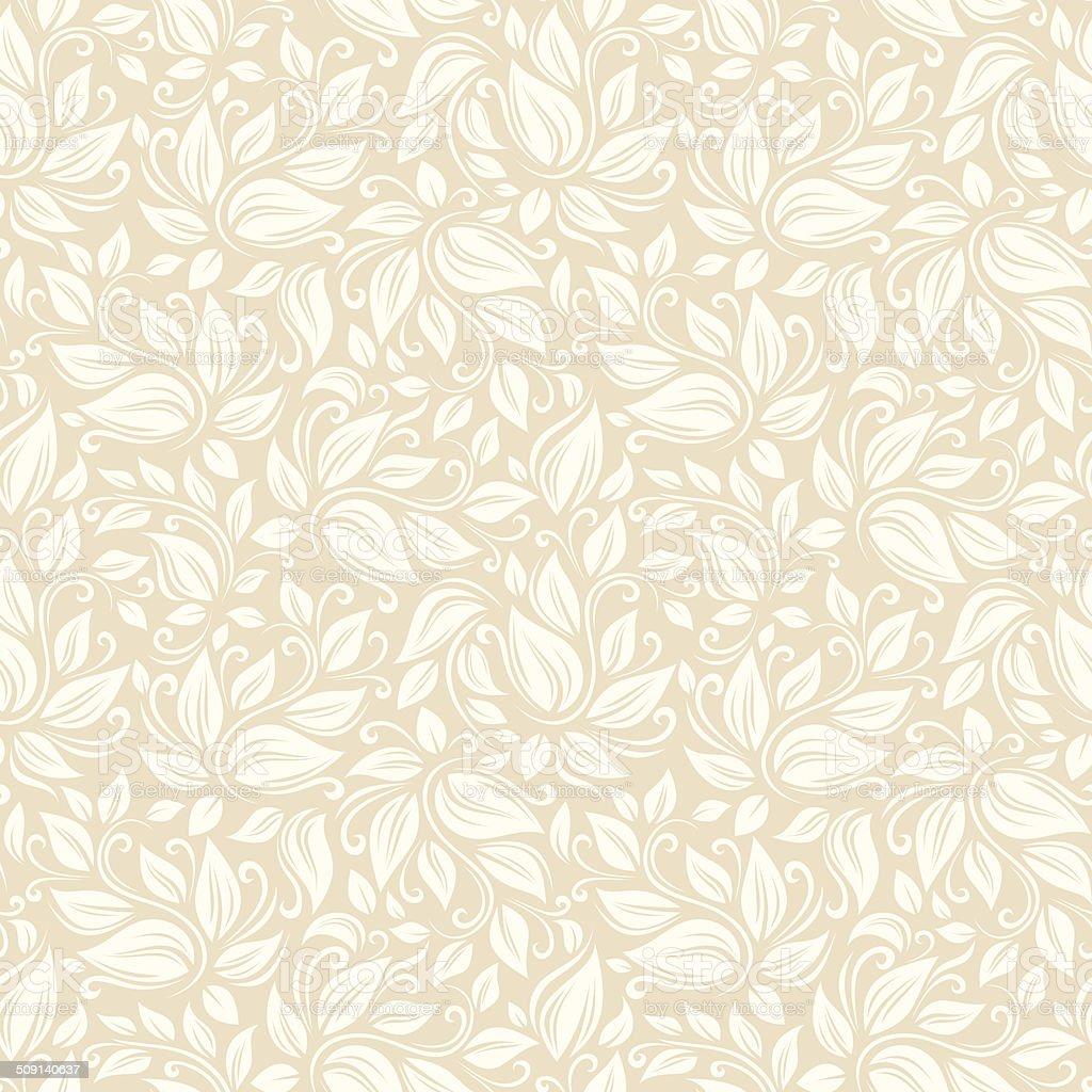Seamless beige floral pattern. Vector illustration. vector art illustration