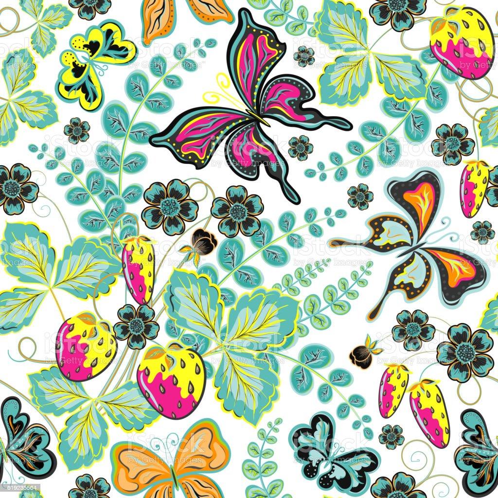 seamless berries flowers and butterflies handdrawing vector