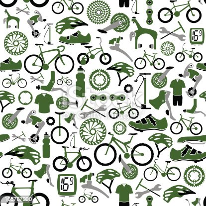 Vector illustration of tillable seamless bikes and bike parts pattern. Global colors allow changing the colors easily.