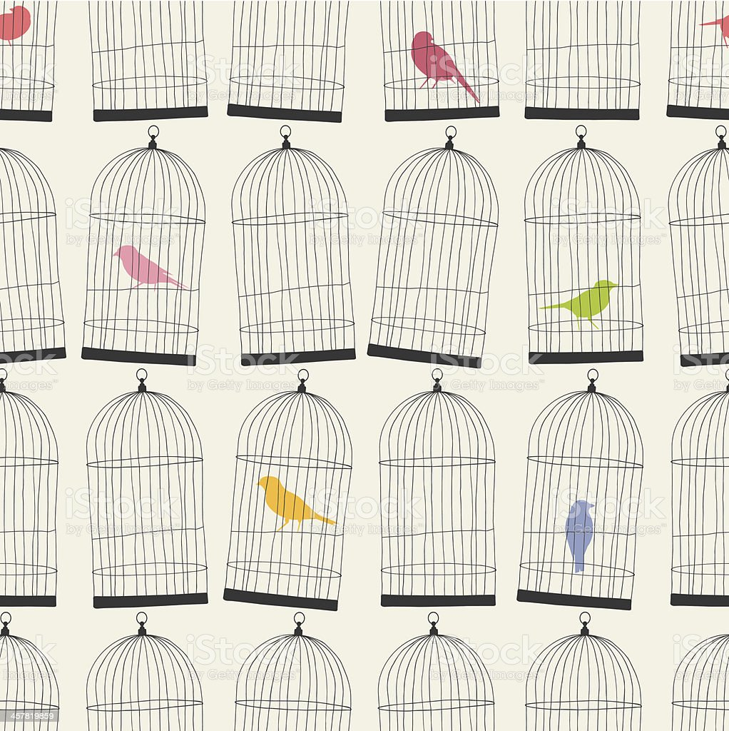 seamless birdcages and colorful birds wallpaper pattern vector art illustration