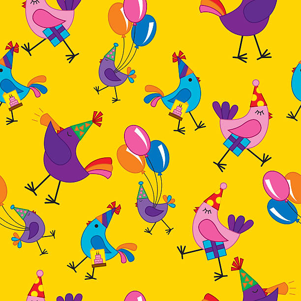 Seamless birds at a birthday party vector art illustration