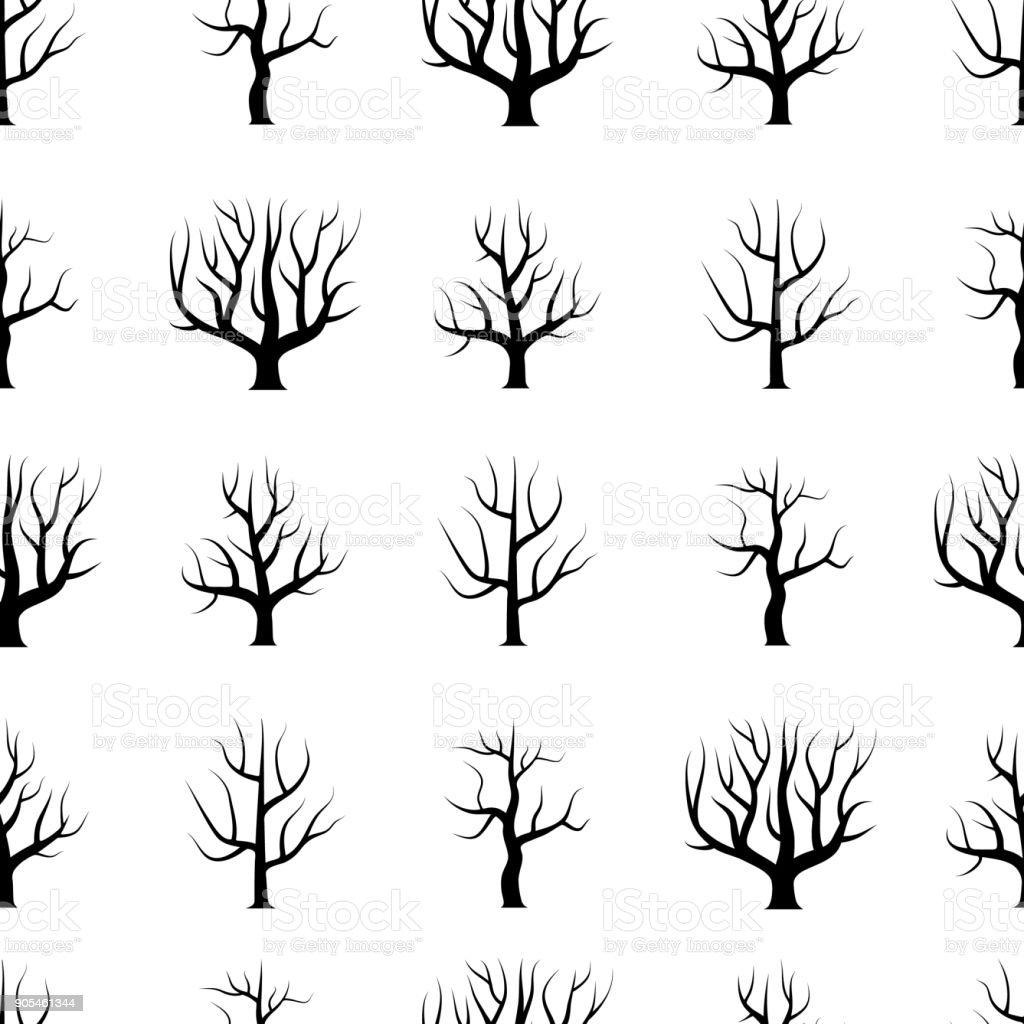Hojas de árboles curvos blanco y negro transparentes sin fondos - ilustración de arte vectorial