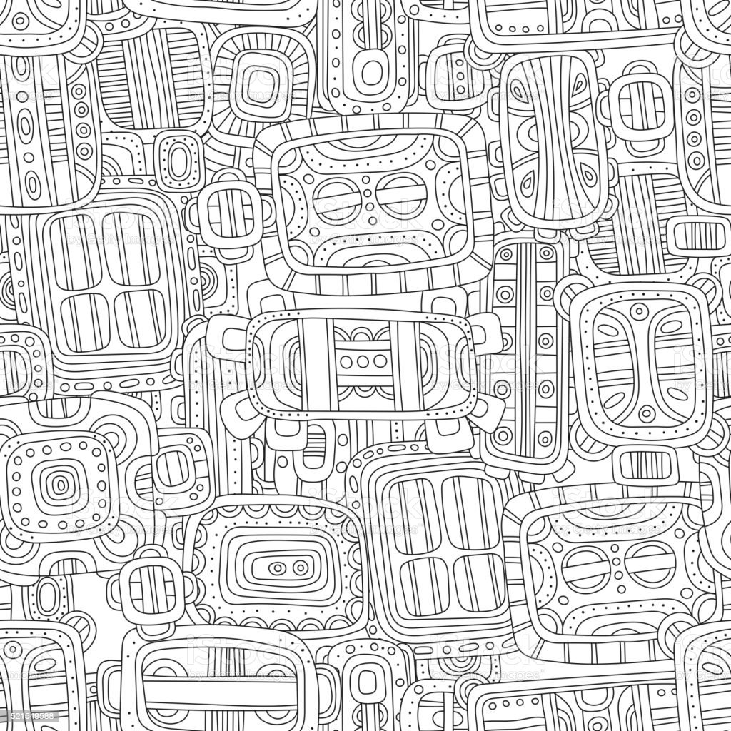 Seamless black and white decorative pattern for coloring book vector art illustration