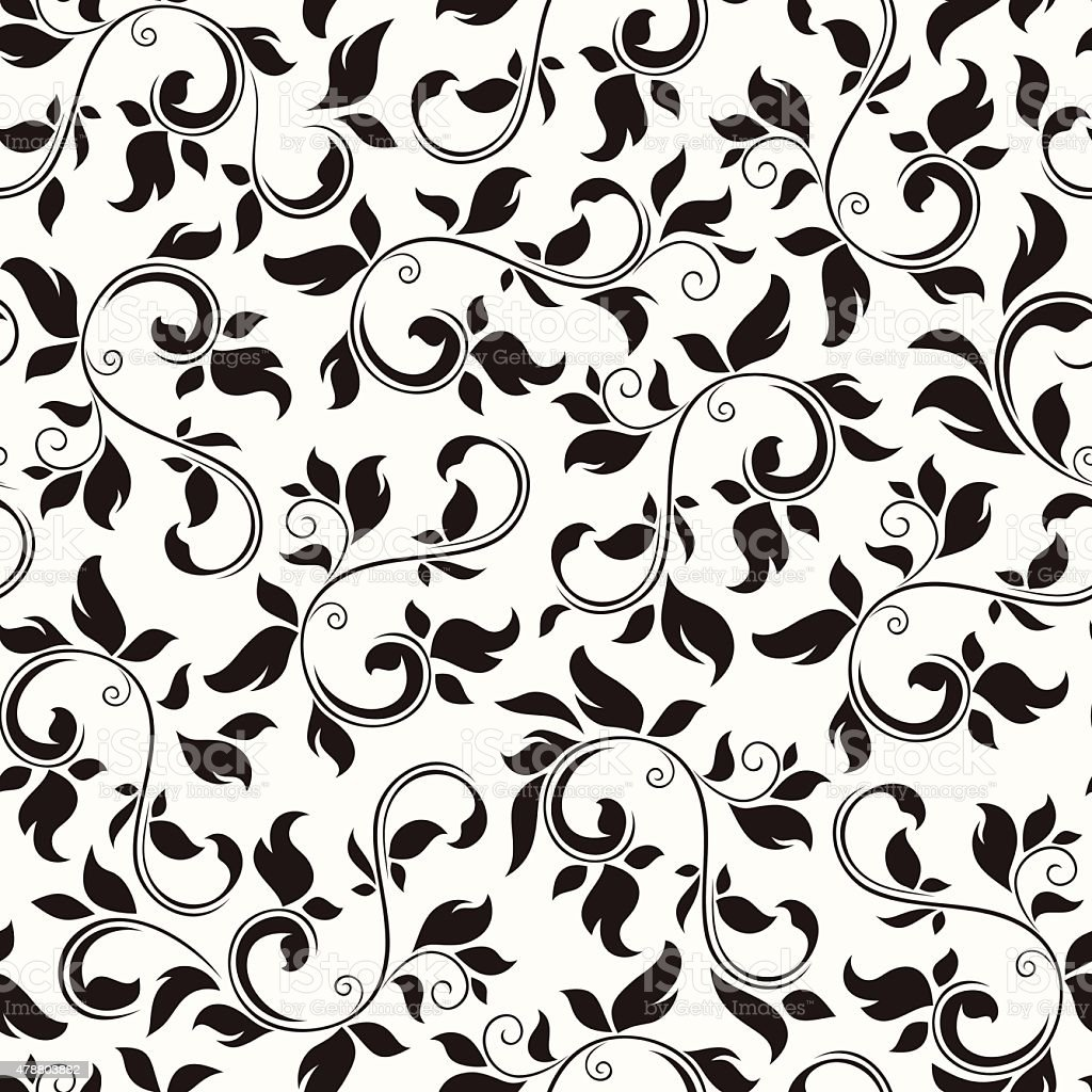 Black Flower And Bud Pattern Royalty Free Stock Photos: Seamless Black And White Floral Pattern Vector