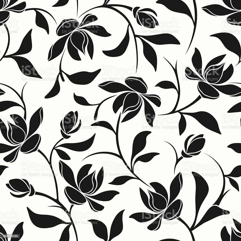 Seamless black and white floral pattern. Vector illustration. vector art illustration