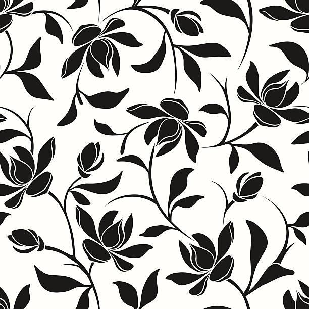 Black Flower Pattern Silhouette Stock Illustration: Royalty Free Magnolia Clip Art, Vector Images