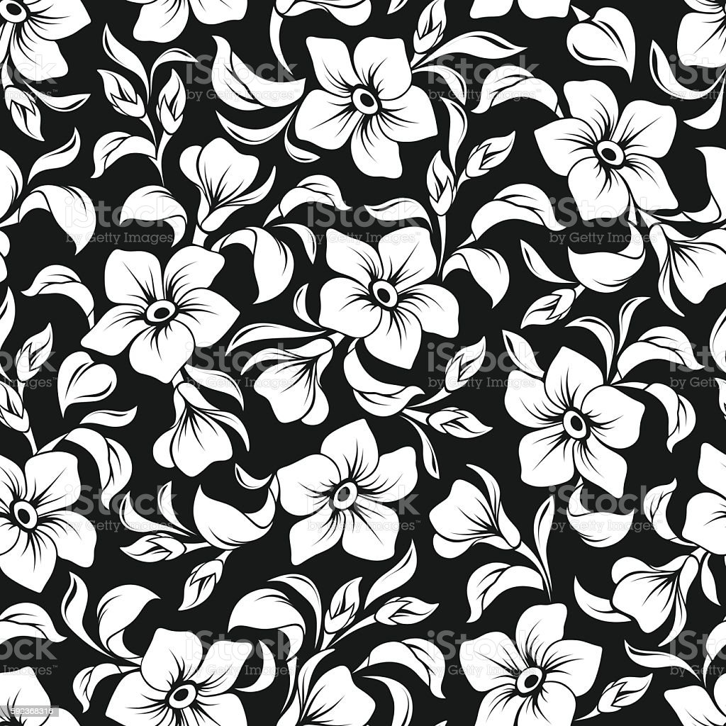 Seamless Black And White Floral Pattern Vector Illustration Stock