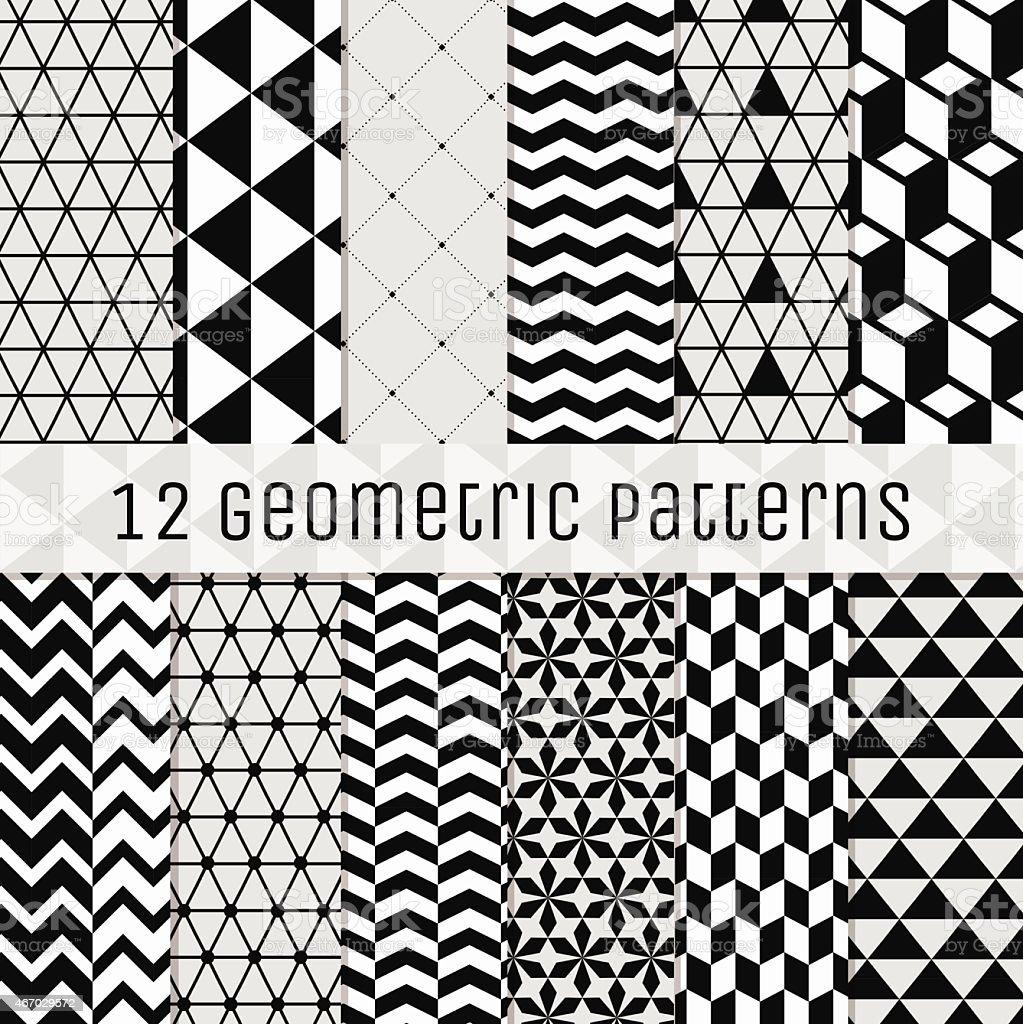 Seamless Black and White Geometric Background Set. vector art illustration