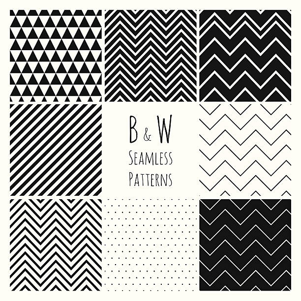 Seamless Black and White geometric background set. Seamless geometric hipster background set.  Black and White Seamless Patterns. Pattern swatches are available zigzag stock illustrations