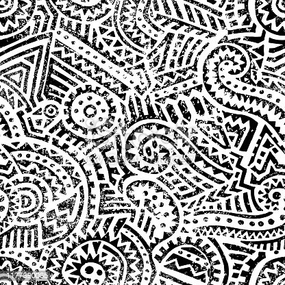 seamless black and white geometric pattern, hand drawn ink ornament, vintage print for textiles, vector illustration