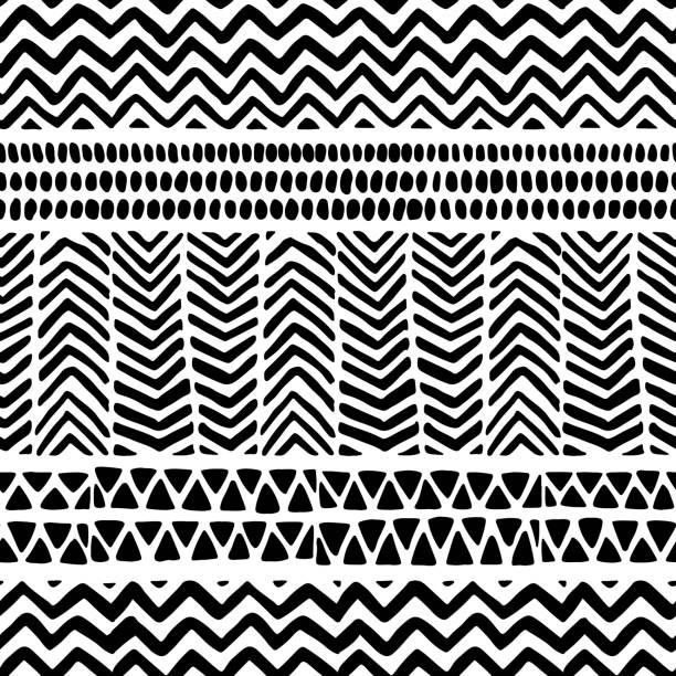illustrazioni stock, clip art, cartoni animati e icone di tendenza di seamless black and white pattern. ethnic and tribal motifs. - sfondo scarabocchi e fatti a mano
