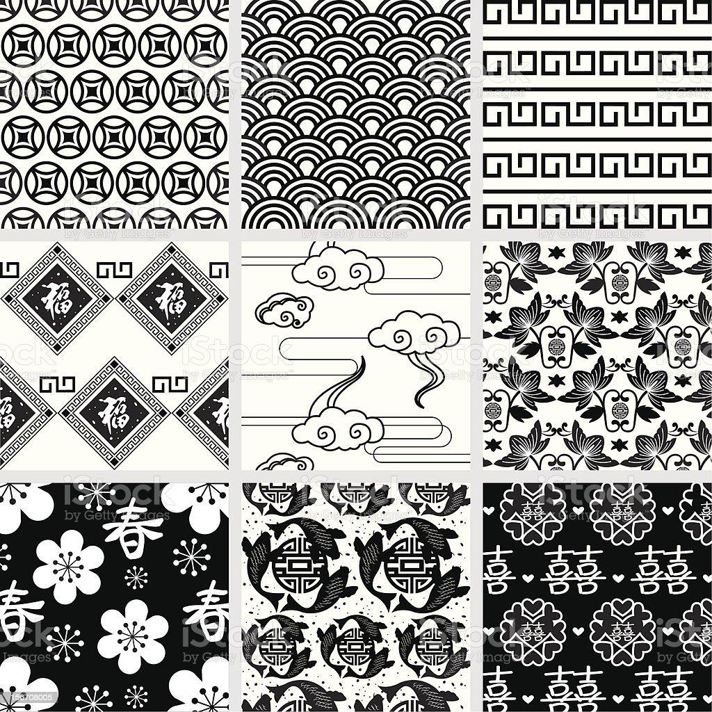 Seamless Black and White Pattern vector art illustration