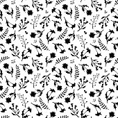 Seamless black and white pattern with wild flowers. Vector illustration.