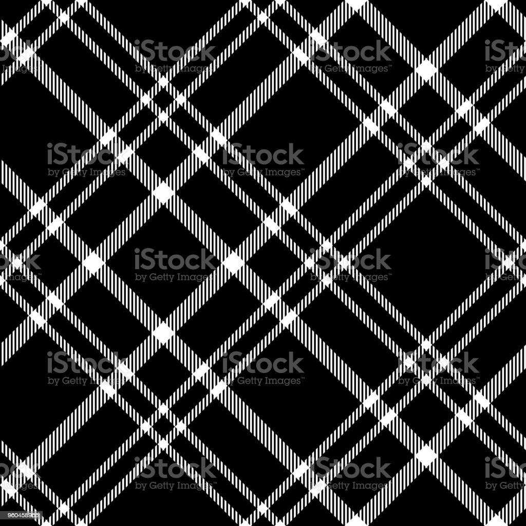 Seamless Black And White Plaid Check Pattern Stock Vector Art More