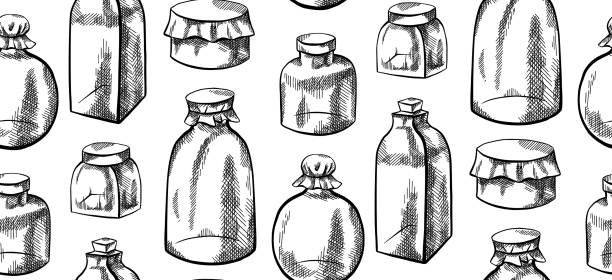Seamless black and white texture with sketchy glass jars and flasks with hatching. Natural medicine.Vial for cosmetics. Vector pattern Seamless black and white texture with sketchy glass jars and flasks with hatching. Natural medicine.Vial for cosmetics. Vector pattern for fabrics, covers, wallpapers and your creativity. drawing of a glass liquor flask stock illustrations