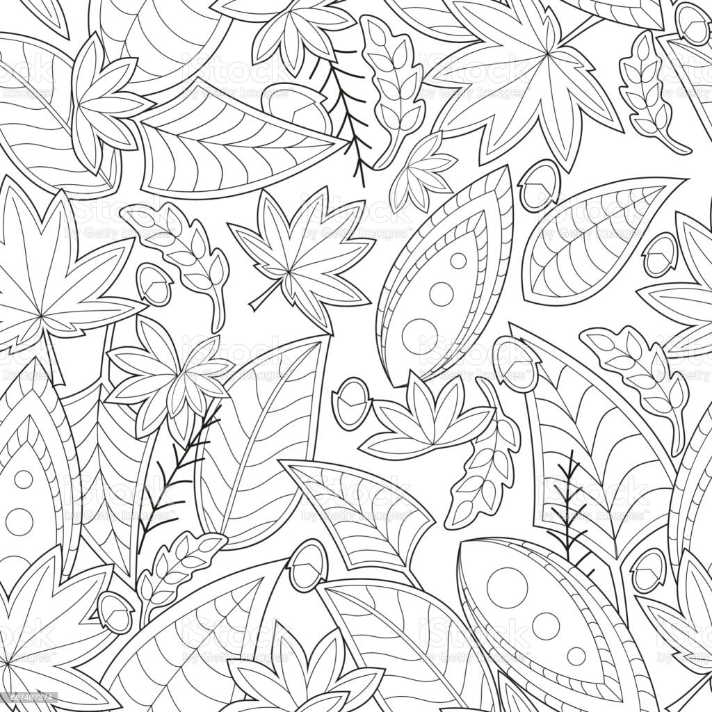 Seamless black and white vector pattern for adult coloring book. vector art illustration