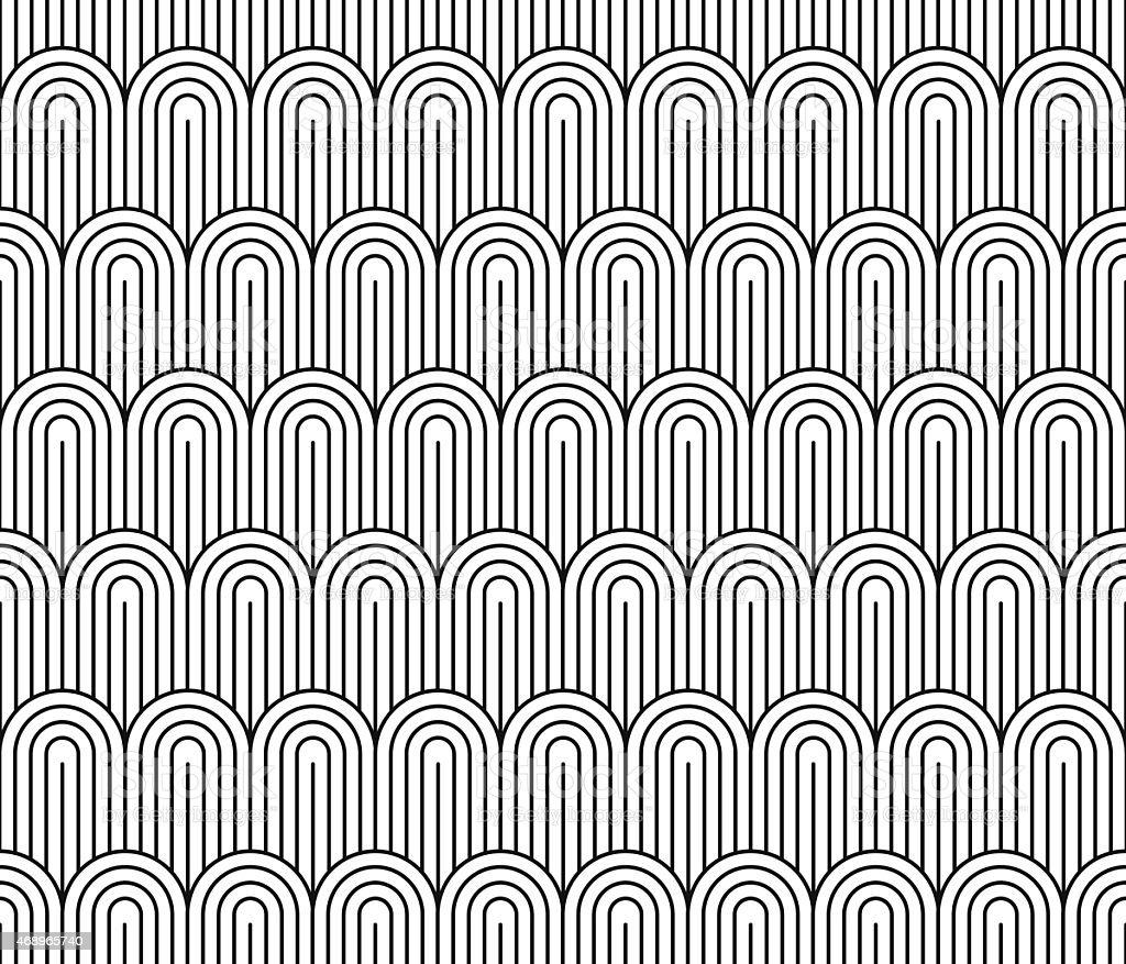 Seamless Black And White Vintage Art Deco Wallpaper Pattern Stock