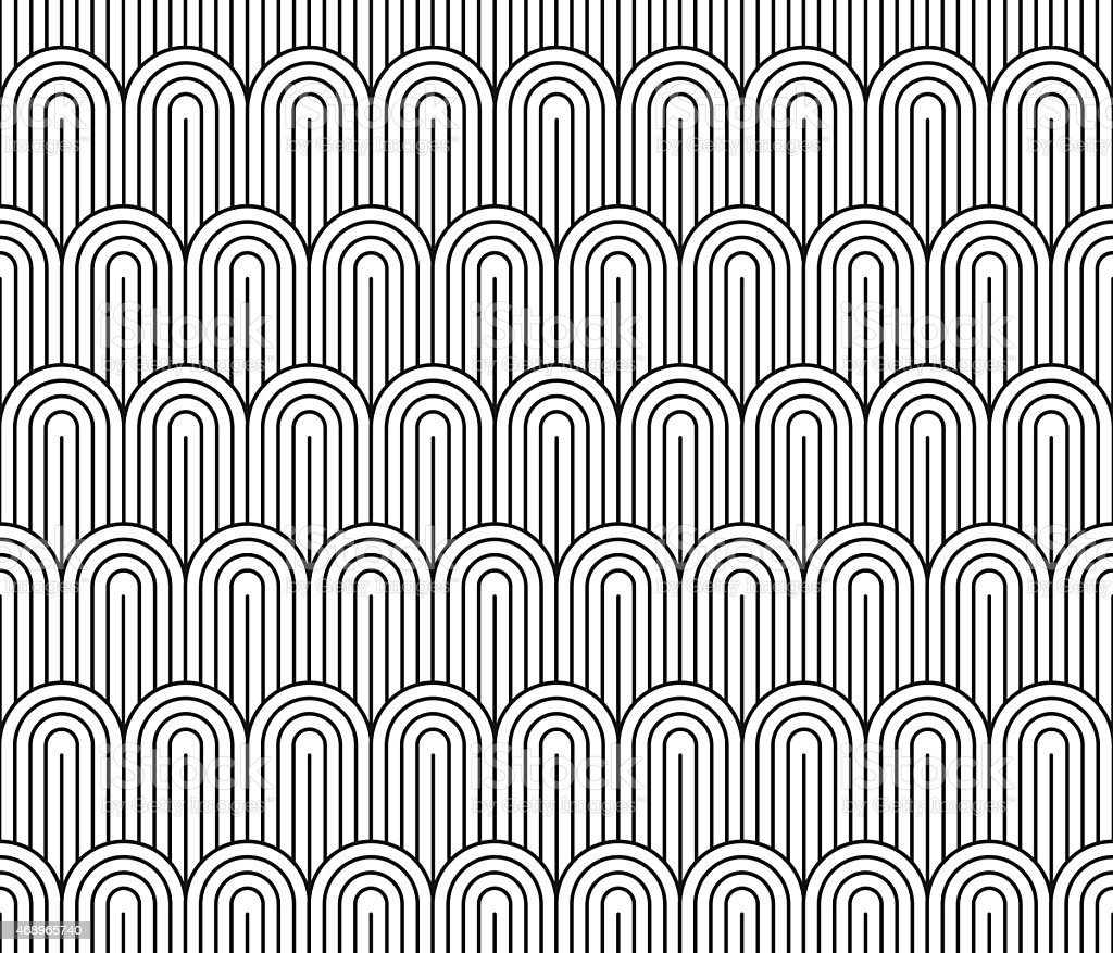 Seamless black and white vintage Art Deco wallpaper pattern vector art illustration