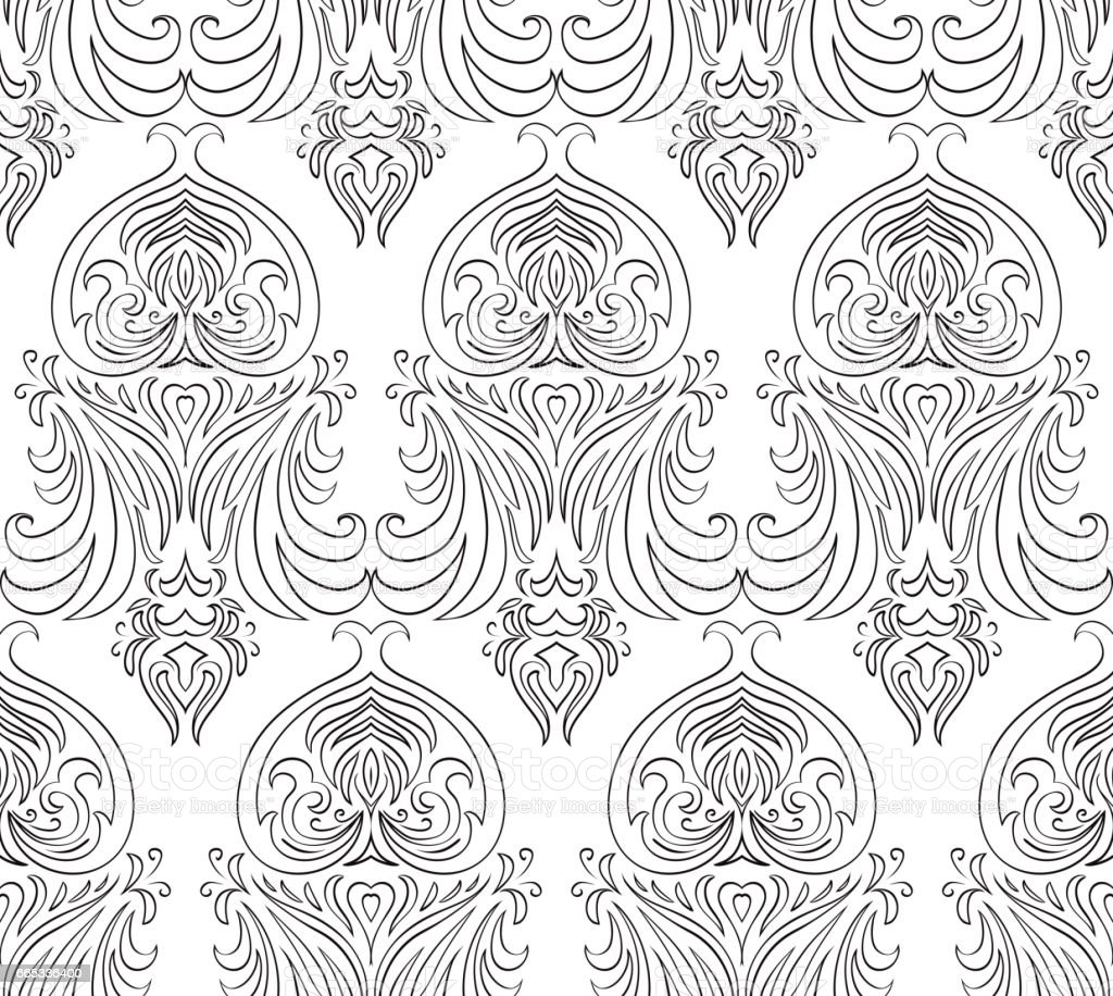 Seamless black and white vintage texture vector pattern for design of curtains wallpaper and your creativity illustration