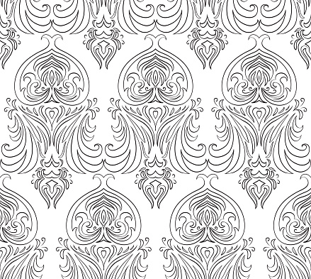 Seamless Black And White Vintage Texture Vector Pattern ...