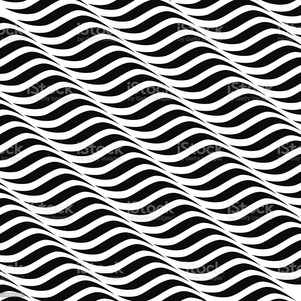 Seamless black and white wavy background pattern vector art illustration