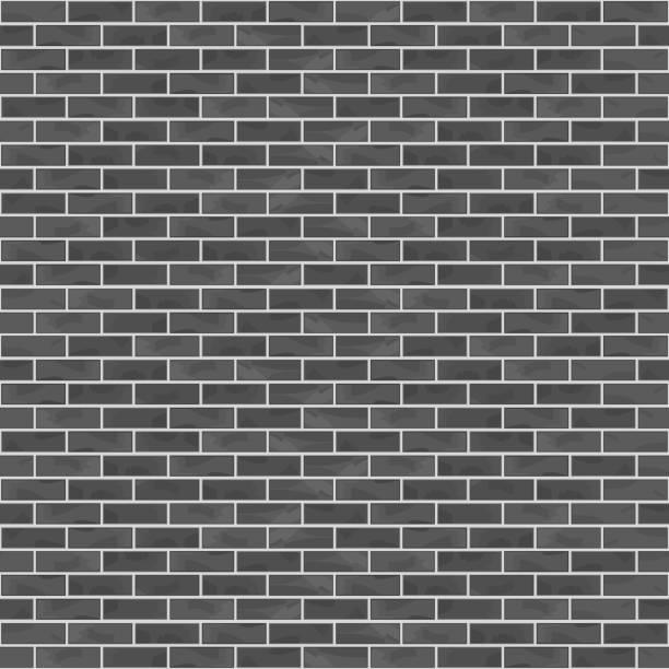 Seamless Black Brick Wall vector art illustration