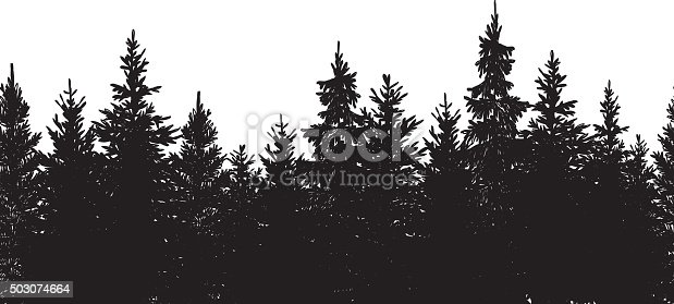 Vector illustration of hand drawn black tree background.