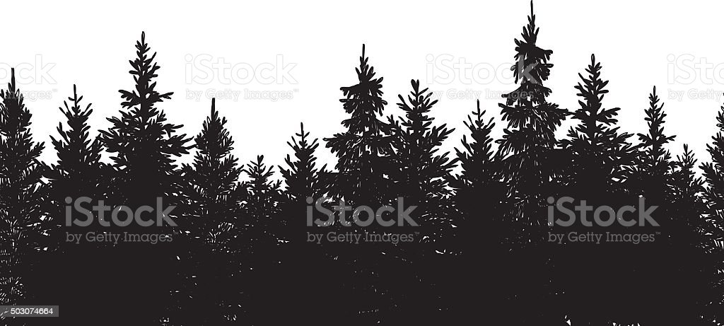 Seamless Black Forest Background vector art illustration