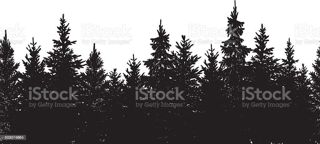 Nahtlose schwarze Wald Hintergrund – Vektorgrafik
