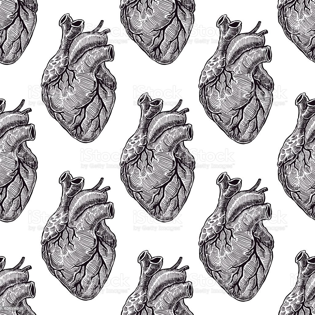 seamless black hearts vector art illustration