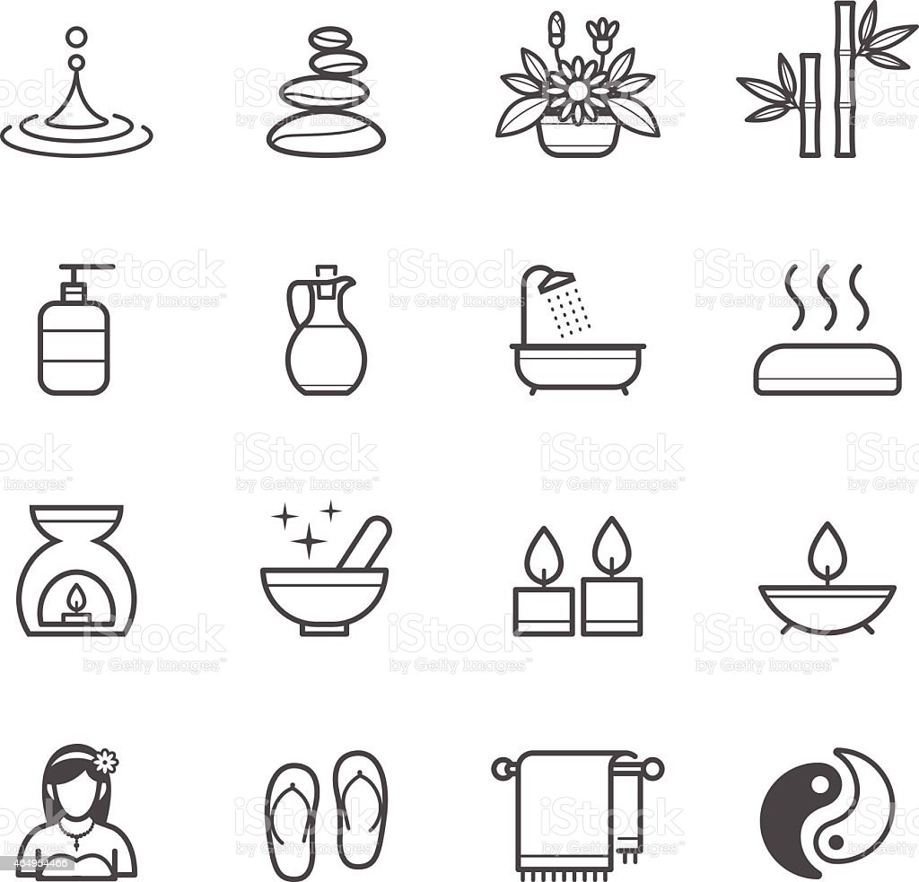Seamless black icons of spa elements in white background vector art illustration