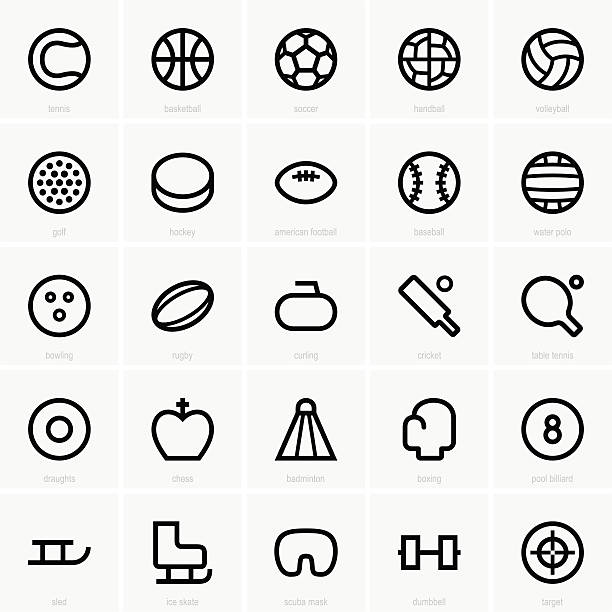 bildbanksillustrationer, clip art samt tecknat material och ikoner med seamless black icons of sports elements in white background - handboll