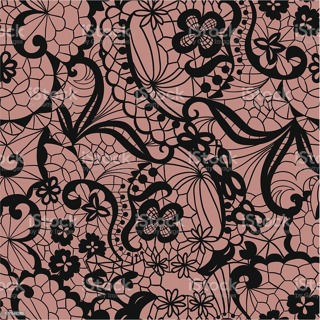 Seamless black lace pattern with flowers royalty-free stock vector art