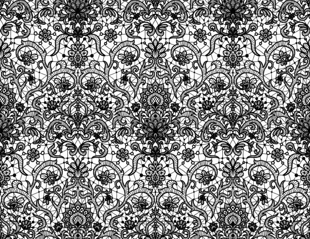 Seamless black lace Seamless black lace background with floral pattern lace textile stock illustrations