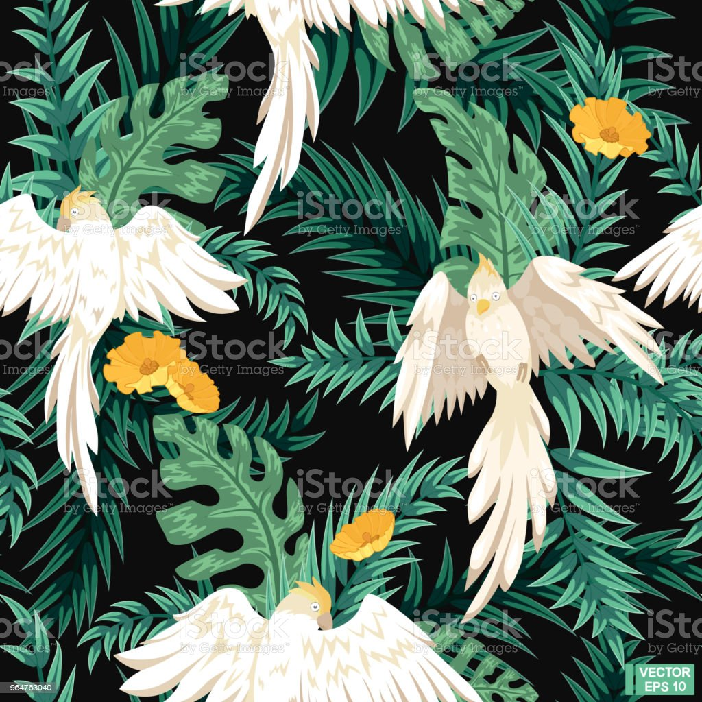 Seamless black pattern, white parrots. royalty-free seamless black pattern white parrots stock vector art & more images of abstract
