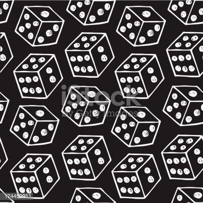 image of dice  Seamless black pattern with drawn brick