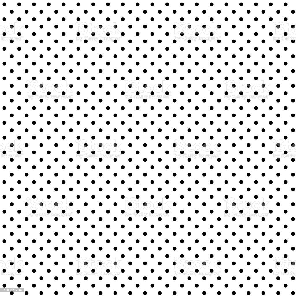 Seamless black polka dot on white background vector art illustration