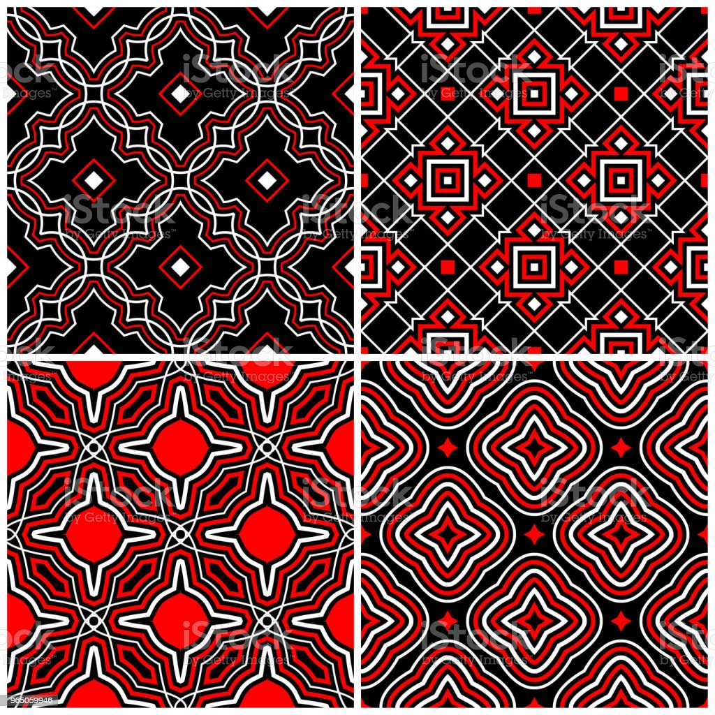 Seamless black white and red patterns. Classic geometric backgrounds royalty-free seamless black white and red patterns classic geometric backgrounds stock vector art & more images of abstract